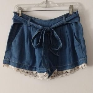 Blue Rain Front Tie Shorts with Lace Trim SMALL